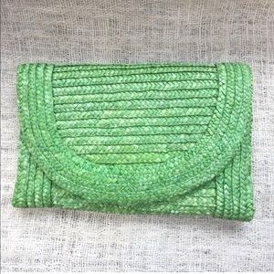 Green Raffia Woven Straw Convertible Clutch Purse